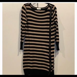 striped sweater dress black &cream striped zipped,